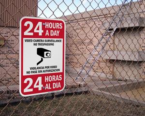 Bilingual 24 Hour Surveillance Sign