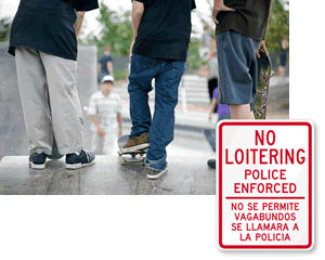 Bilingual No Loitering Signs