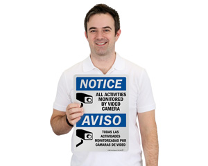 Bilingual Notice Video Surveillance Sign