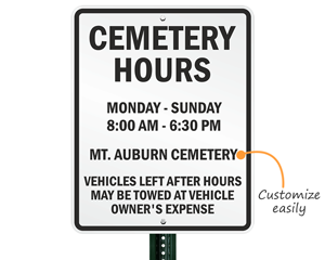 Custom cemetery sign