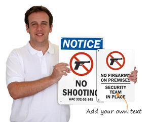 Customize a no firearms sign