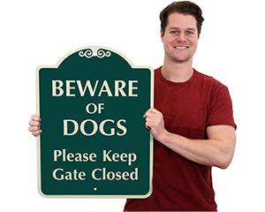 Beware of Dog Keep Gate Closed Sign
