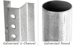 Galvanized U-Channel and Round Metal Sign Posts