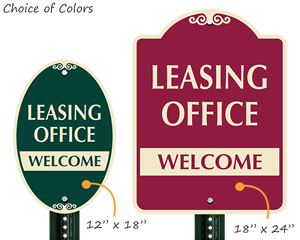 Leasing office welcome signs