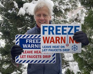 Leave faucets drip freeze warning signs