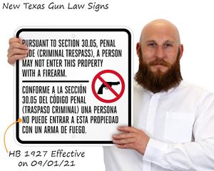 HB 1927 Texas Gun Law Sign