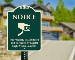 Night vision security camera designer sign