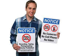 No Cameras Allowed Signs