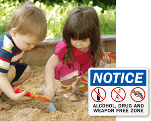 No Drugs or Alcohol in Playgrounds Signs