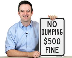No dumping fine sign
