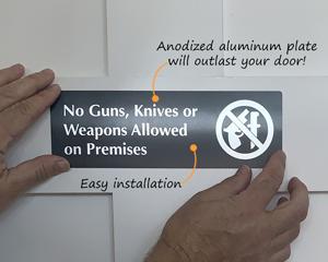 No guns no weapons signs