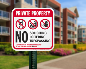 No loitering and no soliciting sign