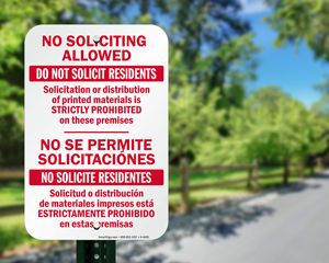 No soliciting allowed sign