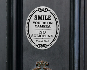 You're On Camera, No Soliciting DiamondPlate™ Door Sign
