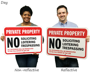 Reflective No Soliciting Signs in Day