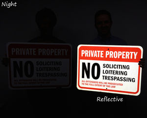 Reflective Private Property No Soliciting Signs - Night