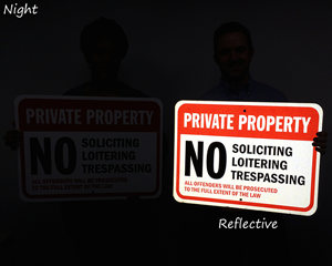 Reflective No Soliciting Signs in Night