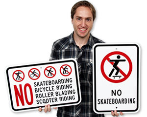 No Skateboarding Signs