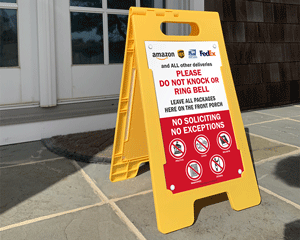 Package Delivery No Soliciting Floor Sign