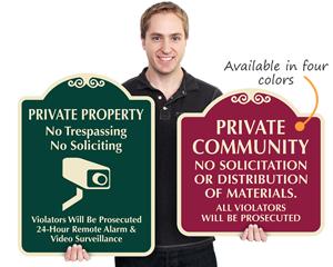 Designer private property road signs