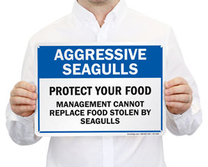 Protect your food from seagulls sign