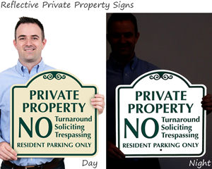 Reflective private property signs