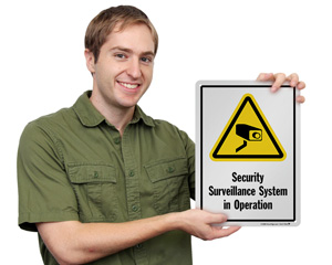 Security Surveillance System In Operation Sign