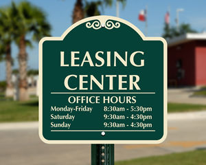 Designer leasing office signs