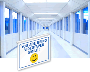 Projecting Surveillance Signs | Double-Sided Signs | Ceiling Tile Surveillance Signs