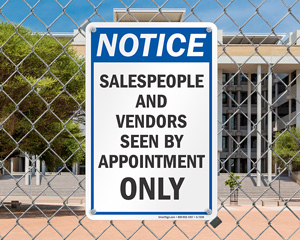 Vendors seen by appointment only sign