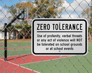Zero Tolerance School Grounds Rules Sign