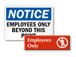 Employees Only Door Signs
