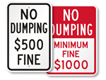 Looking for No Dumping Signs?