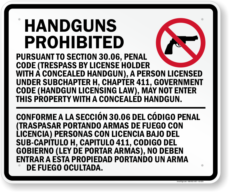 Texas 3006 And 3007 Concealed And Open Carry Signs