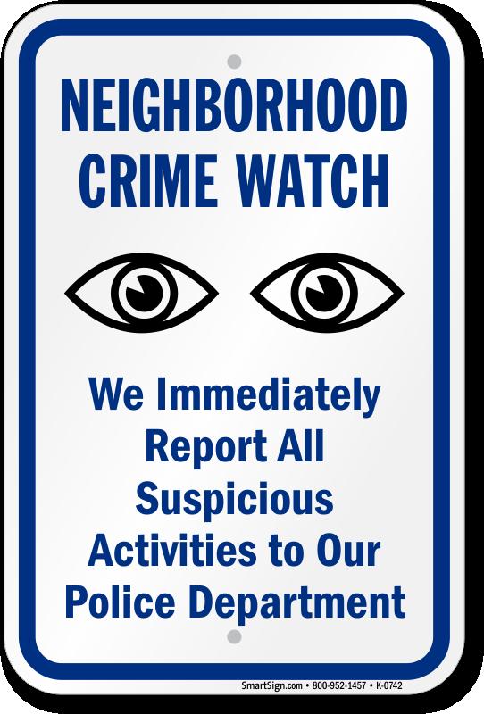 Neighborhood Crime Watch Report Suspicious Eyes Symbol Sign Sku K