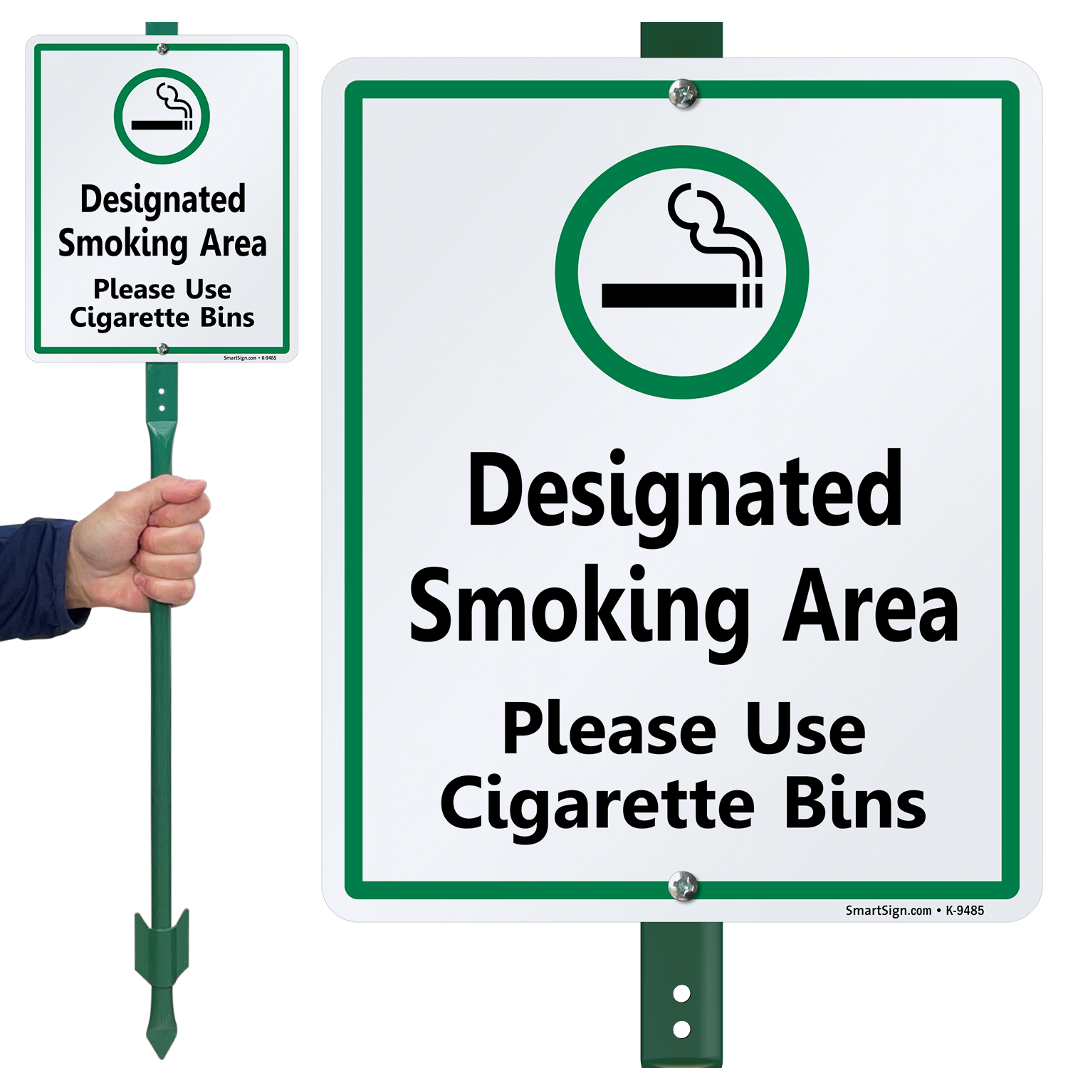 Smoking LawnBoss® Sign & Stake Kit: Designated Smoking Area Please Use  Cigarette Bins (K-9485) Learn More.