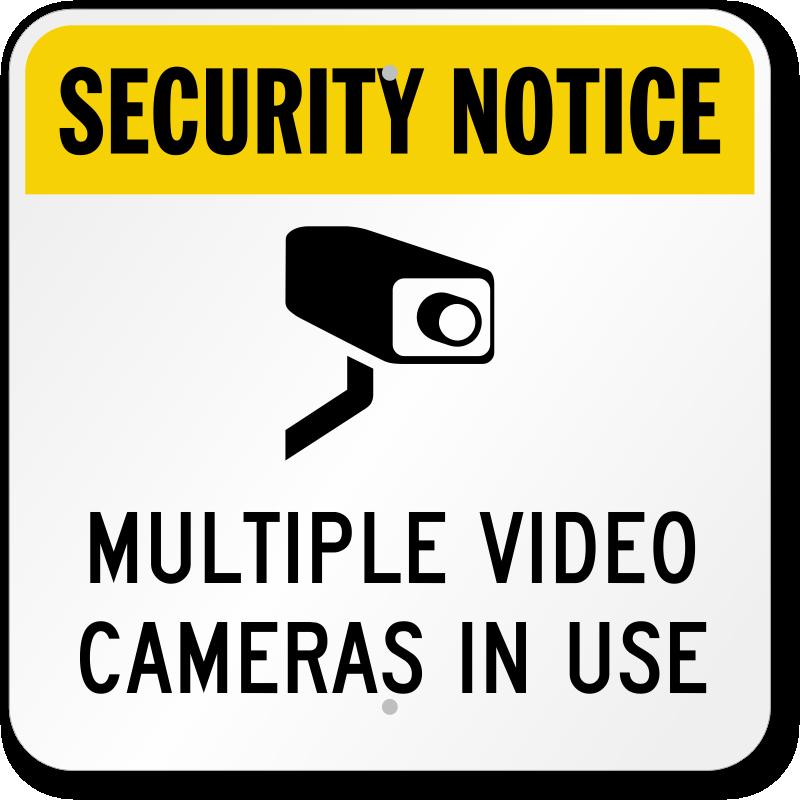 multiple video cameras in use sign sku k0111