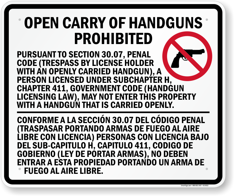 Gun Law 30 07 Sign for Texas Concealed Carry Regulations, SKU: K2-0012