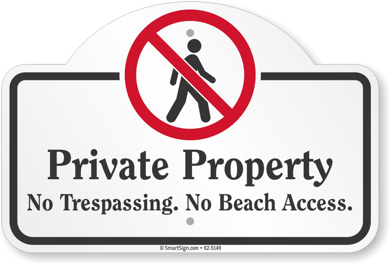 Private Property No Tresping Beach Dome Top Sign
