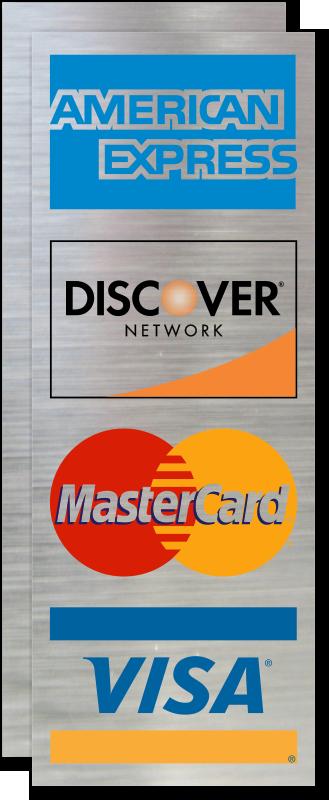american express discover mastercard visa logo decal signs sku