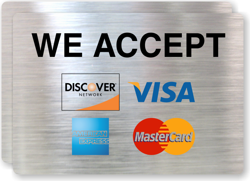Credit Card Signs Credit And Debit Cards Accepted