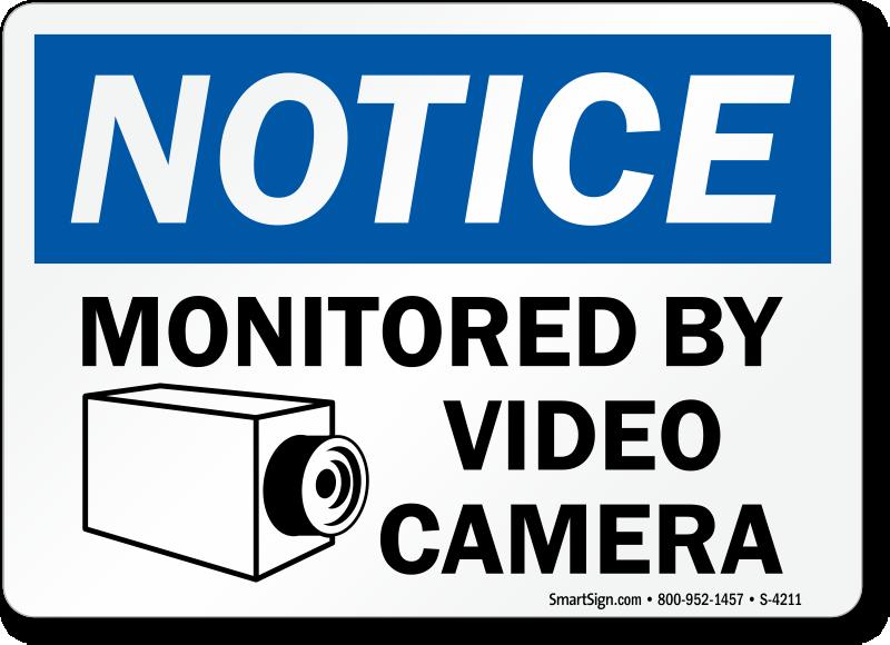 surveillance warning signs. Black Bedroom Furniture Sets. Home Design Ideas