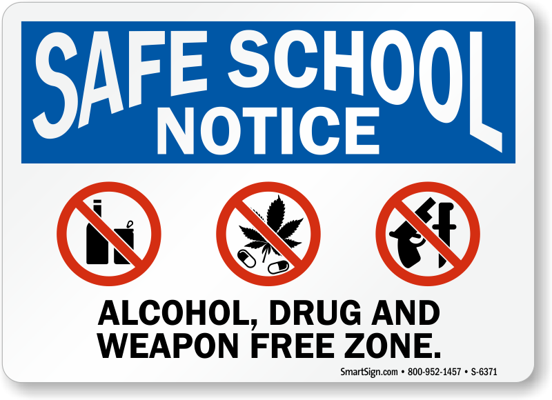 no weapons in schools signs