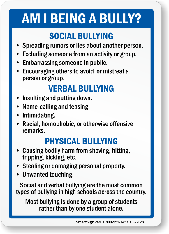 Signs of verbal bullying