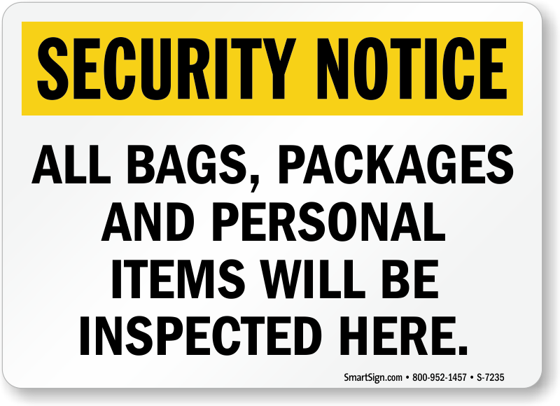 Security Bag Search Sign Illustration