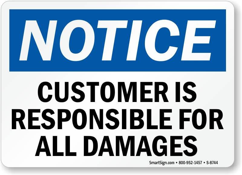 Company Not Responsible Signs