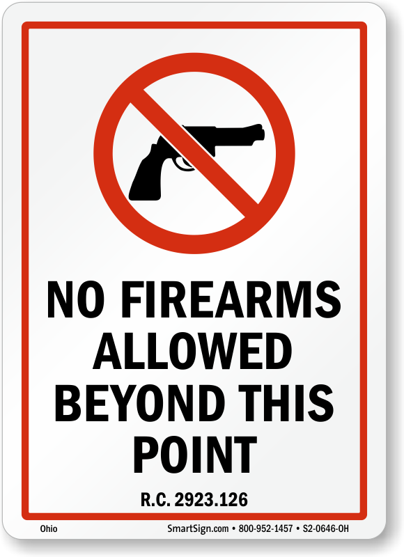 No Firearms Allowed Beyond This Point Ohio Gun Law Sign, SKU