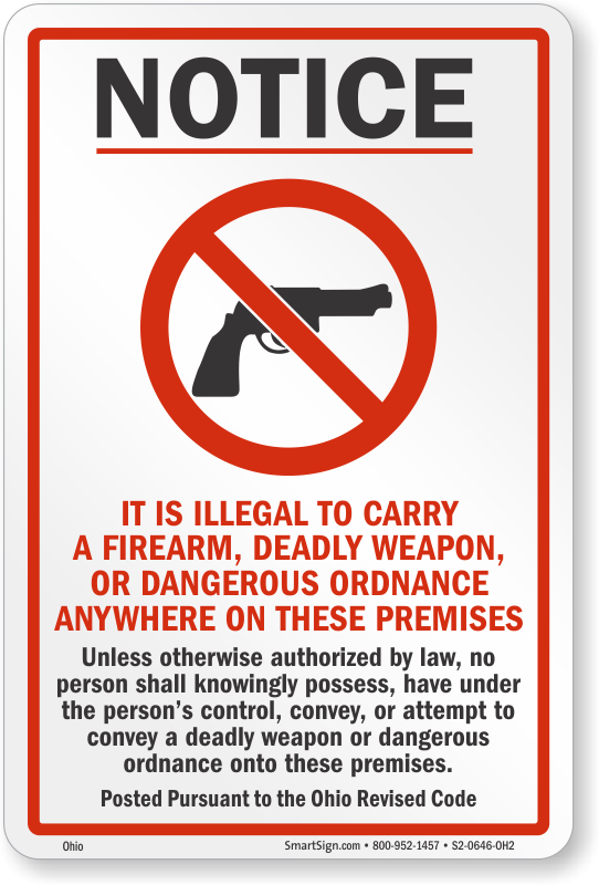 It is Illegal to Carry a Firearm Ohio Gun Law Sign, SKU: S2