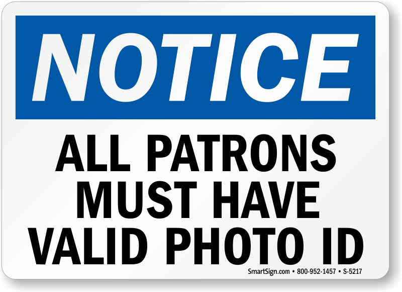 bar signs all patrons must have valid photo id sku s 5217 rh mysecuritysign com