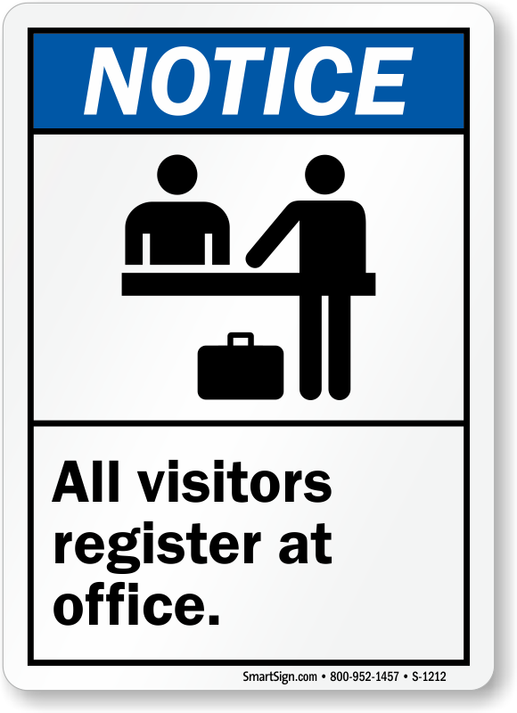 Visitors Must Register at Office Signs, Employees Visitors Signs ...